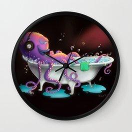 Octo Bath by dana alfonso Wall Clock