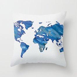 Blue World Map 01 Throw Pillow