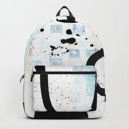 Labyrinth black ink collage Backpack