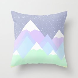 Pastel Mountain Gray Scene Throw Pillow