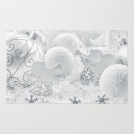Christmas snow ornaments Rug