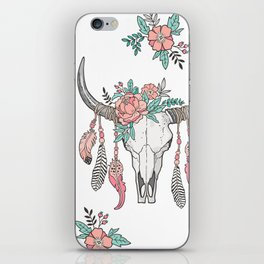 Boho Longhorn Cow Skull with Feathers and Peach Flowers iPhone Skin
