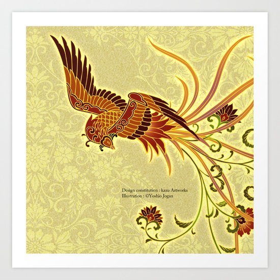 "Japanese Traditional Pattern ""Japanese phoenix"" Art Print ..."