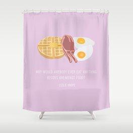Leslie Knope Loves Breakfast Food Shower Curtain
