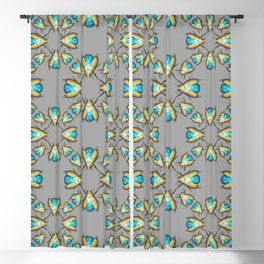 Turquoise Beetles Pattern Blackout Curtain