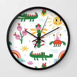 Crocodiles with happy smiles Wall Clock