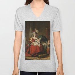 Marie Antoinette and her children by Elisabeth Vigee Le Brun, 1787 Unisex V-Neck