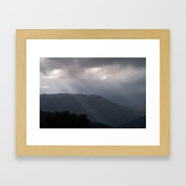 Rays in the mountains Framed Art Print
