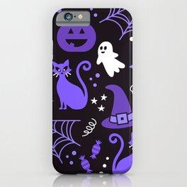 Halloween party illustrations purple, black iPhone Case