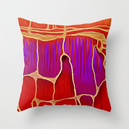Distant Trees in Violet and Vermillion Throw Pillow