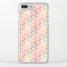 Pastel Chevron Geometric Pattern Clear iPhone Case