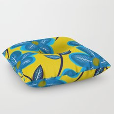 Blue Flowers and Yellow Pattern Floor Pillow