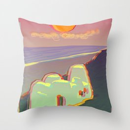 Red Moon Summer Vibrations Throw Pillow