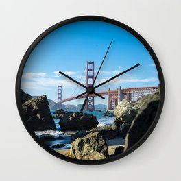 Golden Gate Bridge from Baker Beach Wall Clock
