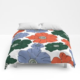 Floral print artwork illustration - Garden Comforters
