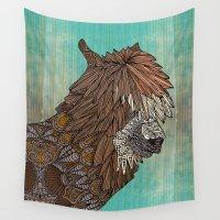 llama Wall Tapestries featuring Ornate Llama by ArtLovePassion