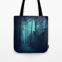 Light in a cyan forest Tote Bag