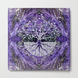 Silver Tree of Life Yggdrasil on Amethyst Geode Metal Print
