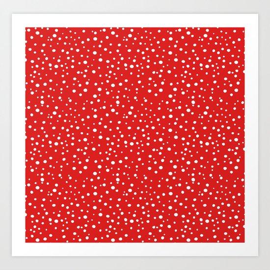 PolkaDots-White on Red Art Print