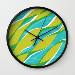 Ocean kelp in turquoise and green Wall Clock