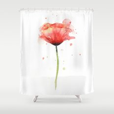 Red Poppy Watercolor Flower Floral Shower Curtain