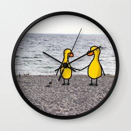 Lovebirds on the Beach Wall Clock