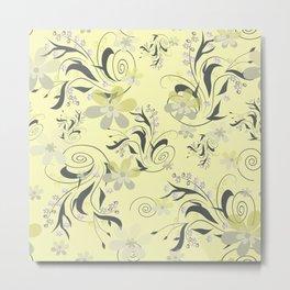 Gently yellow flowers on lemon yellow Metal Print