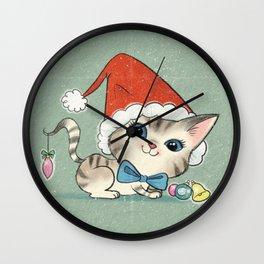Christmas Kitty Wall Clock