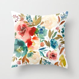 Red Turquoise Teal Floral Watercolor Throw Pillow