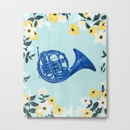 Blue French Horn Metal Print