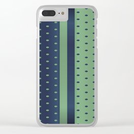 Sage Green and Slate Blue Polka Dots Clear iPhone Case