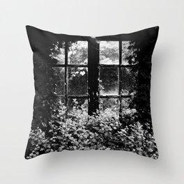 Cottage window black and white Throw Pillow