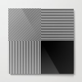Geometric abstraction, black and white Metal Print
