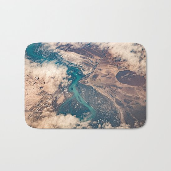 View of the World from Above (Earth Map) Bath Mat