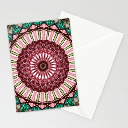 Mandala in red, light and dark green Stationery Cards