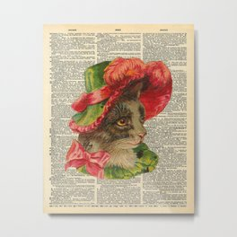 Cat with Fancy Hat on Dictionary Page Metal Print