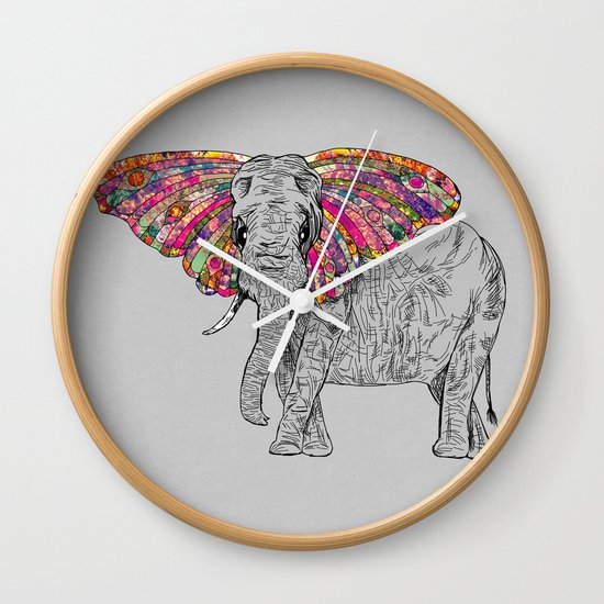 Bella The Happy Butterphant Wall Clock