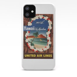 1950 Hawaii United Airlines Travel Poster iPhone Case