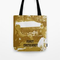 peanuts Tote Bags featuring Peanuts connecting monkeys by Adiel Azrai