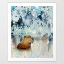 Capybara Springs Art Print