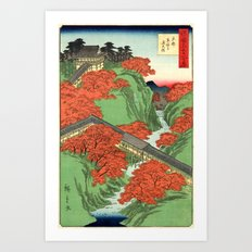 Hiroshige Temple & Mountains Art Print