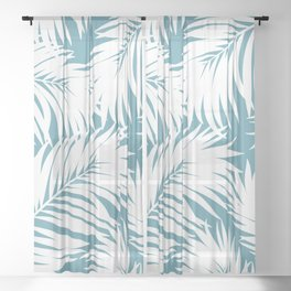 Palm Tree Fronds White on Soft Blue Hawaii Tropical Décor Sheer Curtain