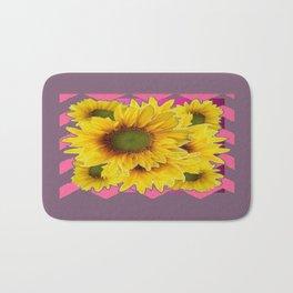 Decorative Pink-Puce Colored Yellow Sunflowers Pattern Bath Mat