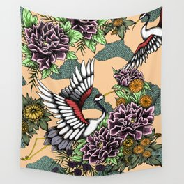 Cranes (Pink) Wall Tapestry