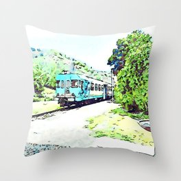 Fognano: departing train Throw Pillow