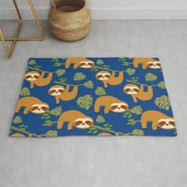 Cute Sloths on Blue, Baby Sloth Hanging Rug