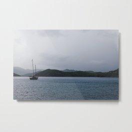Moored Sailboat  Metal Print