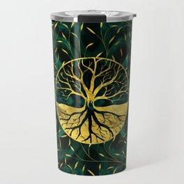 Golden Tree of Life on Malachite Travel Mug