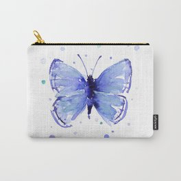 Dark Blue Butterfly Watercolor Carry-All Pouch