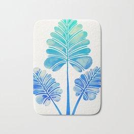Tropical Palm Leaf Trifecta – Blue Ombré Palette Bath Mat